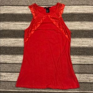 H&M red lace top